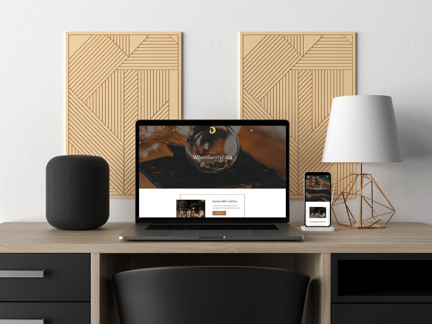 Desktop and mobile phone mockup of When Sanity Fails, online store.